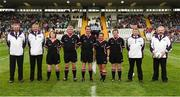 8 October 2017; The Referee and his officals before the TG4 Ladies Football All-Ireland Junior Championship Final Replay between Derry and Fermanagh at St Tiernach's Park in Clones, Co Monaghan. Photo by Oliver McVeigh/Sportsfile
