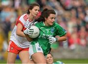 8 October 2017; Aisling Maguire of Fermanagh in action against Megan Devine of Derry during the TG4 Ladies Football All-Ireland Junior Championship Final Replay between Derry and Fermanagh at St Tiernach's Park in Clones, Co Monaghan. Photo by Oliver McVeigh/Sportsfile