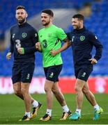 8 October 2017; Republic of Ireland players, from left, Daryl Murphy, Robbie Brady and Wes Hoolahan during squad training at Cardiff City Stadium in Cardiff, Wales. Photo by Stephen McCarthy/Sportsfile