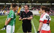 8 October 2017; Referee Kevin Corcoran along with Fermanagh captain Aine McGovern, left, and Derry captain Cait Glass before the TG4 Ladies Football All-Ireland Junior Championship Final Replay between Derry and Fermanagh at St Tiernach's Park in Clones, Co Monaghan. Photo by Oliver McVeigh/Sportsfile