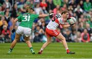 8 October 2017; Ciara McGurk of Derry in action against Aine McGovern of Fermanagh during the TG4 Ladies Football All-Ireland Junior Championship Final Replay between Derry and Fermanagh at St Tiernach's Park in Clones, Co Monaghan. Photo by Oliver McVeigh/Sportsfile