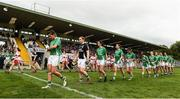 8 October 2017; The Derry and Fermanagh  teams on parade before the TG4 Ladies Football All-Ireland Junior Championship Final Replay between Derry and Fermanagh at St Tiernach's Park in Clones, Co Monaghan. Photo by Oliver McVeigh/Sportsfile