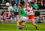 8 October 2017; Annie Crozier of Derry in action against Naomi McManus of Fermanagh during the TG4 Ladies Football All-Ireland Junior Championship Final Replay between Derry and Fermanagh at St Tiernach's Park in Clones, Co Monaghan. Photo by Oliver McVeigh/Sportsfile