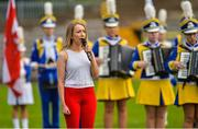 8 October 2017; Kathryn Mullan of Derry sings the national anthem prior to the TG4 Ladies Football All-Ireland Junior Championship Final Replay between Derry and Fermanagh at St Tiernach's Park in Clones, Co Monaghan. Photo by Oliver McVeigh/Sportsfile