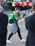 9 October 2017; Sean Maguire of Republic of Ireland arrives prior to the FIFA World Cup Qualifier Group D match between Wales and Republic of Ireland at Cardiff City Stadium in Cardiff, Wales. Photo by Stephen McCarthy/Sportsfile