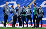 9 October 2017; Republic of Ireland players, from left, John O'Shea, Aiden McGeady, Seamus Coleman, Harry Arter, David Meyler, Richard Keogh and Daryl Murphy prior to the FIFA World Cup Qualifier Group D match between Wales and Republic of Ireland at Cardiff City Stadium in Cardiff, Wales. Photo by Stephen McCarthy/Sportsfile