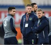 9 October 2017; Sean Maguire, left, Aiden O'Brien, centre, and Daryl Horgan of Republic of Ireland prior to the FIFA World Cup Qualifier Group D match between Wales and Republic of Ireland at Cardiff City Stadium in Cardiff, Wales. Photo by Seb Daly/Sportsfile