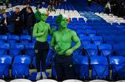 9 October 2017; Republic of Ireland supporters Clayton Peppard, age 11, with his dad Shane, from Clondalkin, Dublin, prior to the FIFA World Cup Qualifier Group D match between Wales and Republic of Ireland at Cardiff City Stadium in Cardiff, Wales. Photo by Stephen McCarthy/Sportsfile