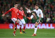 9 October 2017; Jeff Hendrick of Republic of Ireland in action against Tom Lawrence of Wales during the FIFA World Cup Qualifier Group D match between Wales and Republic of Ireland at Cardiff City Stadium in Cardiff, Wales. Photo by Stephen McCarthy/Sportsfile