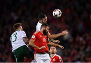 9 October 2017; Joe Ledley of Wales in action against Shane Duffy of Republic of Ireland during the FIFA World Cup Qualifier Group D match between Wales and Republic of Ireland at Cardiff City Stadium in Cardiff, Wales. Photo by Seb Daly/Sportsfile
