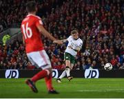9 October 2017; James McClean of Republic of Ireland shoots to score his side's first goal during the FIFA World Cup Qualifier Group D match between Wales and Republic of Ireland at Cardiff City Stadium in Cardiff, Wales. Photo by Seb Daly/Sportsfile