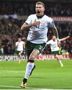 9 October 2017; James McClean of Republic of Ireland celebrates after scoring his side's first goal during the FIFA World Cup Qualifier Group D match between Wales and Republic of Ireland at Cardiff City Stadium in Cardiff, Wales. Photo by Stephen McCarthy/Sportsfile