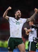 9 October 2017; Shane Duffy of Republic of Ireland celebreates following his side's victory during the FIFA World Cup Qualifier Group D match between Wales and Republic of Ireland at Cardiff City Stadium in Cardiff, Wales. Photo by Seb Daly/Sportsfile