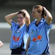 4 August 2012; Dublin's Laura Twomey, left, and Fiona Hayes after the game. All-Ireland Senior Camogie Championship Quarter-Final, Dublin v Offaly, Parnell Park, Dublin. Picture credit: Ray Lohan / SPORTSFILE