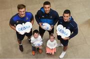 12 October 2017; Jayden and Casey Moore-Connors pictured with Leinster Rugby players Josh van der Flier, Adam Byrne and Noel Reid. Representing Debra Ireland, one of Leinster Rugby's two charity partners, Jayden will lead Leinster Rugby out for Saturday's Champions Cup clash against Montpellier in honour of two brave children living with butterfly skin disease EB (epidermolysis bullosa) – his sister Casey and the late Liam Hagan who died of EB three weeks before he was due to be the Leinster mascot against Connacht a year ago. Anyone wishing to support Debra Ireland during #EBAwarenessWeek (23rd – 29th October 2017) is asked to text BUTTERFLY to 50300 to donate €4 and Debra Ireland will receive a minimum of €3.25 from every donation. Photo by Cody Glenn/Sportsfile