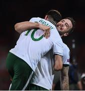 9 October 2017; Shane Duffy, right, of Republic of Ireland celebrates with teammate Robbie Brady following his side's victory during the FIFA World Cup Qualifier Group D match between Wales and Republic of Ireland at Cardiff City Stadium in Cardiff, Wales. Photo by Seb Daly/Sportsfile