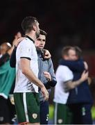 9 October 2017; Seamus Coleman, right, of Republic of Ireland congratulates teammate Shane Duffy following their side's victory during the FIFA World Cup Qualifier Group D match between Wales and Republic of Ireland at Cardiff City Stadium in Cardiff, Wales. Photo by Seb Daly/Sportsfile