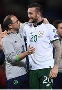 9 October 2017; Republic of Ireland manager Martin O'Neill and Shane Duffy following the FIFA World Cup Qualifier Group D match between Wales and Republic of Ireland at Cardiff City Stadium in Cardiff, Wales. Photo by Stephen McCarthy/Sportsfile