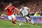9 October 2017; James McClean of Republic of Ireland in action against James Chester of Wales during the FIFA World Cup Qualifier Group D match between Wales and Republic of Ireland at Cardiff City Stadium in Cardiff, Wales. Photo by Stephen McCarthy/Sportsfile