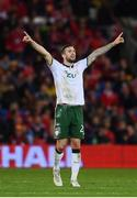 9 October 2017; Shane Duffy of Republic of Ireland during the FIFA World Cup Qualifier Group D match between Wales and Republic of Ireland at Cardiff City Stadium in Cardiff, Wales. Photo by Stephen McCarthy/Sportsfile
