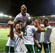 9 October 2017; James McClean, second from right, celebrates after scoring his side's goal with his Republic of Ireland team-mates, from left, Harry Arter, Robbie Brady, Shane Duffy, Daryl Murphy and David Meyler during the FIFA World Cup Qualifier Group D match between Wales and Republic of Ireland at Cardiff City Stadium in Cardiff, Wales. Photo by Stephen McCarthy/Sportsfile