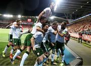 9 October 2017; James McClean, second from right, celebrates after scoring his side's goal with his Republic of Ireland team-mates including, Jeff Hendrick, Harry Arter, Robbie Brady, Shane Duffy and David Meyler during the FIFA World Cup Qualifier Group D match between Wales and Republic of Ireland at Cardiff City Stadium in Cardiff, Wales. Photo by Stephen McCarthy/Sportsfile