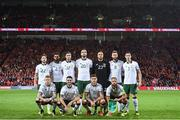9 October 2017; The Republic of Ireland team, back row, from left to right, Harry Arter, Cyrus Christie, Stephen Ward, Shane Duffy, Daryl Murphy and Ciaran Clark. Front row, from left to right, James McClean, Robbie Brady, Jeff Hendrick and David Meyler prior to the FIFA World Cup Qualifier Group D match between Wales and Republic of Ireland at Cardiff City Stadium in Cardiff, Wales. Photo by Stephen McCarthy/Sportsfile