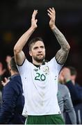 9 October 2017; Shane Duffy of Republic of Ireland celebrates following the FIFA World Cup Qualifier Group D match between Wales and Republic of Ireland at Cardiff City Stadium in Cardiff, Wales. Photo by Stephen McCarthy/Sportsfile