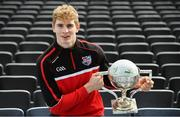 10 October 2017; In attendance at Croke Park for the draw and launch of the Top Oil Leinster Schools Senior Football 'A' Championship is Daniel Flynn of Kildare with the Brother Bosco Cup. Croke Park in Dublin. Photo by Sam Barnes/Sportsfile