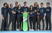 10 October 2017; Pictured from left are, Alpine Skier John Brown, Alpine Skier Pat McMillan, Cross Country skier Thomas Westgard, Alpine Skier Emma Ryan, Snowboarder Seamus O'Connor, Alpine Skier Tess Arbez, Alpine Skier Brendan Newby with Alpine Skier Cormac Comerford and Alpine Skier Kieran Norris, at the Olympic Council of Ireland Winter Olympics Workshop. Ireland's Winter Olympic hopefuls gathered in Ireland today for a series of workshops hosted by the Olympic Council of Ireland and the Sport Ireland Institute. The OCI has supported five of Ireland's eligible Winter Olympic hopefuls through the Olympic Scholarship run in conjunction with the International Olympic Committee. Six of the athletes have achieved the A standard eligible to compete at the Winter Olympics 2018 in PyeongChang, South Korea, from the 9th – 25th February 2018 but will not have confirmed qualification until the cut off on the 24th January. Photo by Eóin Noonan/Sportsfile