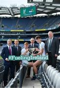 10 October 2017; In attendance at Croke Park for the draw and launch of the Top Oil Leinster Schools Senior Football 'A' Championship were, from left, Des Halpenny, Leinster Schools Chairperson, Gerard Boylan, CEO Top Oil, Ben Maddoch of St. Peter's Wexford, Charlie Carter, Top Oil, Brian Deeney of St. Peter's Wexford and Jim Bolger, Leinster GAA Chairman with the Brother Bosco Cup. Croke Park, Dublin. Photo by Sam Barnes/Sportsfile