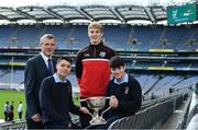 10 October 2017; In attendance at Croke Park for the draw and launch of the Top Oil Leinster Schools Senior Football 'A' Championship was, Daniel Flynn of Kildare, with representatives of St Pat's Navan, from left, Colm O'Rourke, Dylan Keating and Aaron Lynch. Croke Park, Dublin. Photo by Sam Barnes/Sportsfile