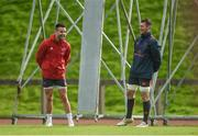 10 October 2017; Conor Murray, left, and Peter O'Mahony of Munster during Munster Rugby Squad Training at the University of Limerick in Limerick. Photo by Diarmuid Greene/Sportsfile