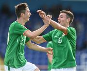 10 October 2017; Neil Farrugia, left, of Republic of Ireland is congratulated by his team-mate Thomas O'Connor after scoring the second goal against Serbia during the UEFA European U19 Championship Qualifier match between Republic of Ireland and Serbia at RSC in Waterford.