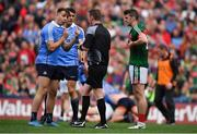 17 September 2017; Cormac Costello of Dublin speaks to Referee Joe McQuillan after a tussle with Brendan Harrison of Mayo during the GAA Football All-Ireland Senior Championship Final match between Dublin and Mayo at Croke Park in Dublin. Photo by Brendan Moran/Sportsfile