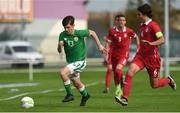 10 October 2017; Aaron Bolger of Republic of Ireland in action against Strahinja Bosnjak of Serbia during the UEFA European U19 Championship Qualifier match between Republic of Ireland and Serbia at RSC in Waterford. Photo by Matt Browne/Sportsfile