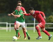 10 October 2017; Thomas O'Connor of Republic of Ireland in action against Lazar Kojic of Serbia during the UEFA European U19 Championship Qualifier match between Republic of Ireland and Serbia at RSC in Waterford. Photo by Matt Browne/Sportsfile