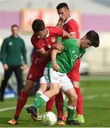 10 October 2017; Aaron Bolger of Republic of Ireland in action against Njegos Petrovic of Serbia during the UEFA European U19 Championship Qualifier match between Republic of Ireland and Serbia at RSC in Waterford. Photo by Matt Browne/Sportsfile