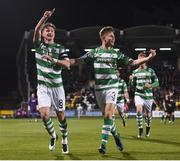 10 October 2017; Ronan Finn of Shamrock Rovers celebrates after scoring his side's first goal, with team-mate Luke Byrne, right, during the Irish Daily Mail FAI Cup Semi-Final Replay match between Shamrock Rovers and Dundalk at Tallaght Stadium in Tallaght, Dublin. Photo by Stephen McCarthy/Sportsfile