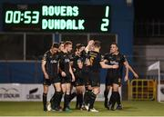 10 October 2017; Robbie Benson of Dundalk, hidden, is congratulated by team-mates after scoring his side's second goal during the Irish Daily Mail FAI Cup Semi-Final Replay match between Shamrock Rovers and Dundalk at Tallaght Stadium in Tallaght, Dublin. Photo by Seb Daly/Sportsfile