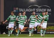 10 October 2017; Michael O'Connor celebrates with his Shamrock Rovers team-mates, including Trevor Clarke, after scoring his side's second goal during the Irish Daily Mail FAI Cup Semi-Final Replay match between Shamrock Rovers and Dundalk at Tallaght Stadium in Tallaght, Dublin. Photo by Stephen McCarthy/Sportsfile