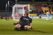 10 October 2017; David McMillan of Dundalk celebrates after scoring his side's third goal during the Irish Daily Mail FAI Cup Semi-Final Replay match between Shamrock Rovers and Dundalk at Tallaght Stadium in Tallaght, Dublin. Photo by Seb Daly/Sportsfile