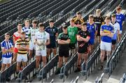 10 October 2017; In attendance at Croke Park for the draw and launch of the Top Oil Leinster Schools Senior Football 'A' Championship were, from left, Gavin Sheein of Good Counsel, Matt Moran of SC. Aodhain, Conor Cilleach of Colaiste Eoin, Martin Moloney of St. Mary's Knockbeg College, David Kelly of Sc. Mhuire Clane, Brian Deeny of St. Peter's Wexford, holding the Brother Bosco Cup, Ciarán Kelly of Moate CS, Oisin Donnelly of St. Benildus College, Conan O'Hara of Col Mhuire Mullingar, Niall Carty of Athlone CC, Cathal Farrell of St. Mary's Edenderry, Eoin Mulvihill of Marist Athlone, Cian Buckley of Patrician Newbridge, Killian Thompson of Naas CBS, James Murray of Maynooth Post Primary and Robbie O'Connell of St. Mel's Longford. Croke Park in Dublin. Photo by Sam Barnes/Sportsfile