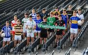 10 October 2017; In attendance at Croke Park for the draw and launch of the Top Oil Leinster Schools Senior Football 'A' Championship were, from left, Gavin Sheein of Good Counsel, Matt Moran of SC. Aodhain, Conor Cilleach of Colaiste Eoin, David Kelly of Sc. Mhuire Clane, Brian Deeny of St. Peter's Wexford, holding the Brother Bosco Cup, Martin Moloney of St. Mary's Knockbeg College, Robbie O'Connell of St. Mel's Longford, Ciarán Kelly of Moate CS, Oisin Donnelly of St. Benildus College, Conan O'Hara of Col Mhuire Mullingar, Niall Carty of Athlone CC, Cathal Farrell of St. Mary's Edenderry, Eoin Mulvihill of Marist Athlone, Cian Buckley of Patrician Newbridge, Killian Thompson of Naas CBS and James Murray of Maynooth Post Primary. Croke Park in Dublin. Photo by Sam Barnes/Sportsfile