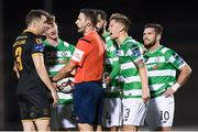 10 October 2017; Referee Paul McLaughlin with Brian Gartland of Dundalk and Shamrock Rovers players, from left, Ronan Finn, David Webster, Luke Byrne and Brandon Miele during the Irish Daily Mail FAI Cup Semi-Final Replay match between Shamrock Rovers and Dundalk at Tallaght Stadium in Tallaght, Dublin. Photo by Stephen McCarthy/Sportsfile