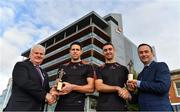 12 October 2017; Dublin's James McCarthy and Galway's Gearóid McInerney have been confirmed as the PwC GAA/GPA Players of the Month for September in football and hurling. David McGee, right, Markets and Strategy Partner, PwC and Aogán Ó'Fearghaíl, GAA President are pictured with Dublin footballer James McCarthy and Galway hurler Gearoid McInerney at the announcement of the September PwC GAA/GPA Player of the Month Awards during a reception at PwC Offices, in Spencer Dock, Dublin.  Photo by Brendan Moran/Sportsfile