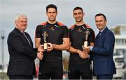 12 October 2017; Dublin's James McCarthy and Galway's Gearóid McInerney have been confirmed as the PwC GAA/GPA Players of the Month for September in football and hurling. David McGee, right, Markets and Strategy Partner, PwC, and Aogán Ó'Fearghaíl, GAA President are pictured with Dublin footballer James McCarthy, 2nd from right, and Galway hurler Gearoid McInerney at the announcement of the September PwC GAA/GPA Player of the Month Awards during a reception at PwC Offices, in Spencer Dock, Dublin.  Photo by Brendan Moran/Sportsfile