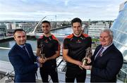 12 October 2017; Dublin's James McCarthy and Galway's Gearóid McInerney have been confirmed as the PwC GAA/GPA Players of the Month for September in football and hurling. David McGee, left, Markets and Strategy Partner, PwC, and Aogán Ó'Fearghaíl, GAA President are pictured with Dublin Footballer James McCarthy, 2nd from left, and Galway Hurler Gearoid McInerney at the announcement of the September PwC GAA/GPA Player of the Month Awards during a reception at PwC Offices, in Spencer Dock, Dublin.  Photo by Brendan Moran/Sportsfile