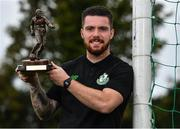 12 October 2017; Brandon Miele of Shamrock Rovers with his SSE Airtricity/SWAI Player of the Month Award for September 2017 at SRFC Academy, Roadstone Sports Facility, in Kingswood Cross, Dublin. Photo by Eóin Noonan/Sportsfile