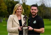12 October 2017; Brandon Miele of Shamrock Rovers is presented with his SSE Airtricity/SWAI Player of the Month Award by Anne McAreavey, SSE Airtricity Marketing Manager-Sponsorship and Loyalty, for September 2017 at SRFC Academy, Roadstone Sports Facility, in Kingswood Cross, Dublin. Photo by Eóin Noonan/Sportsfile